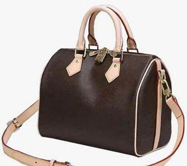 Три Размеры Speedy сумка высокое качество и низкая цена сумки Подушка сумка с Starp старый цветок окислять Real Leather Холст кожаный кошелек
