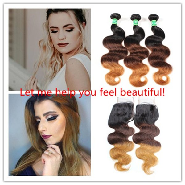 2019 New Brazilian 3-color body Wave Human Hair Bands with Lace Closure Free Part Remy Hair Weave 3/4 Packages with Clasp 1B / 4/30 J74