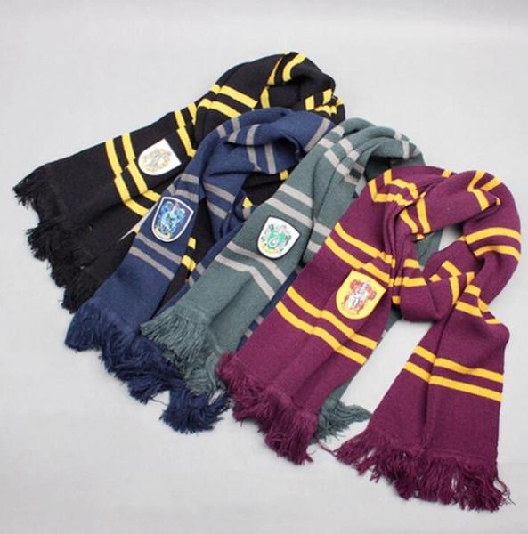 Harry Potter Schals Slytherin Gryffindor Ravenclaw Hufflepuff Strickschal mit Quasten Winter verdicken Wolle warme Cosplay-Schals GGA1403