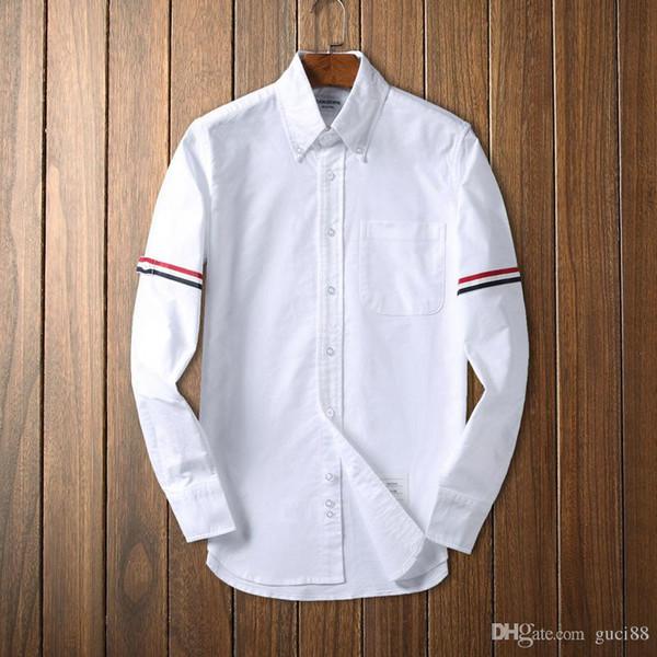 Mens designer de luxo th t shirts browne TB clássico Tri Color Fita camisa de manga comprida THOM homem casual tshirt dolce