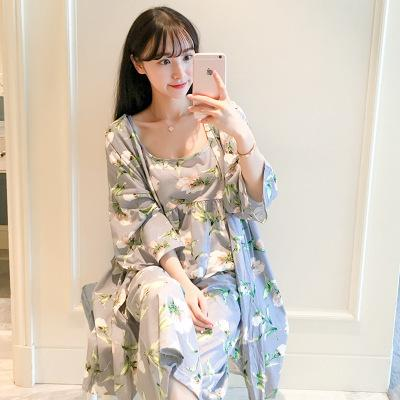 Sonbahar ve Kış Manolya Üç parçalı Pijama Askı Pijama bayan Ev Takım Elbise Süt Ipek Sonbahar