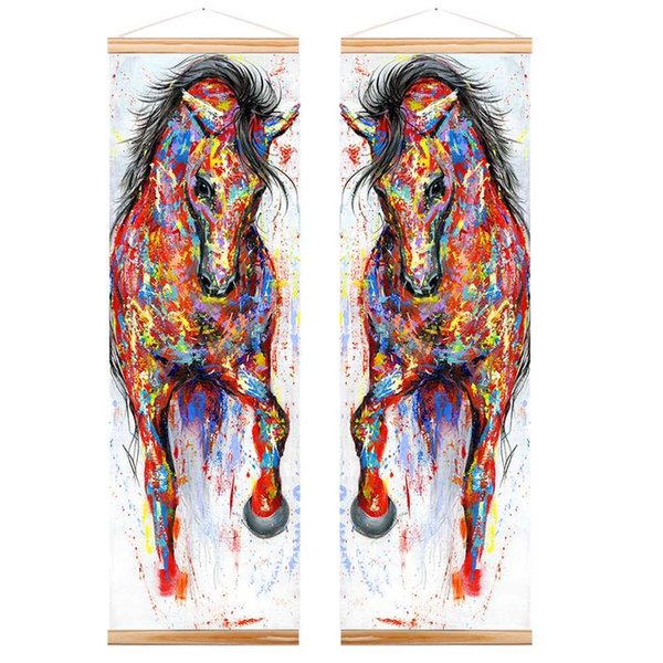 WANGART Frame Painting Larger Original Running Horse Canvas Oil Painting Wall Art Wooden Scroll Wall Picture For Living Room