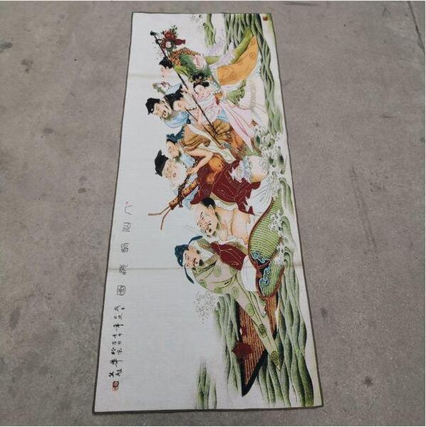 Восемь Бессмертных за морем показывают волшебную китайскую старую шелковую Тхангу, как картины и каллиграфию с вышивкой 150x60см