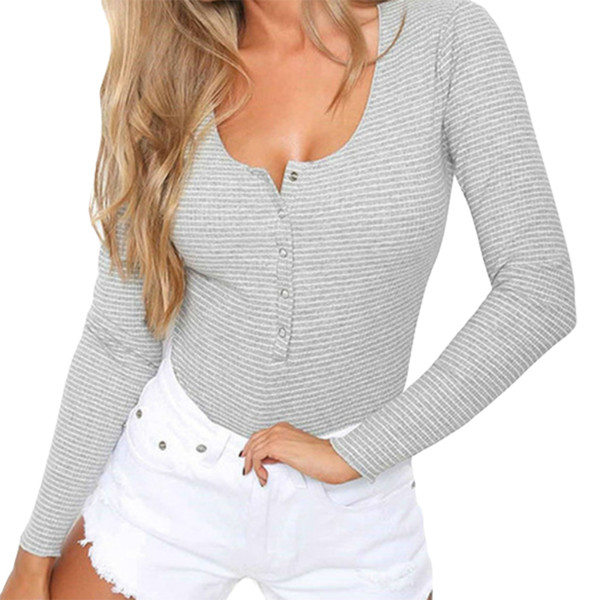 Fashion Body Top Women New Sexy Autumn Winter Bodysuit Rompers Long Sleeve Striped Button Skinny Bodysuits Casual Playsuit M0033