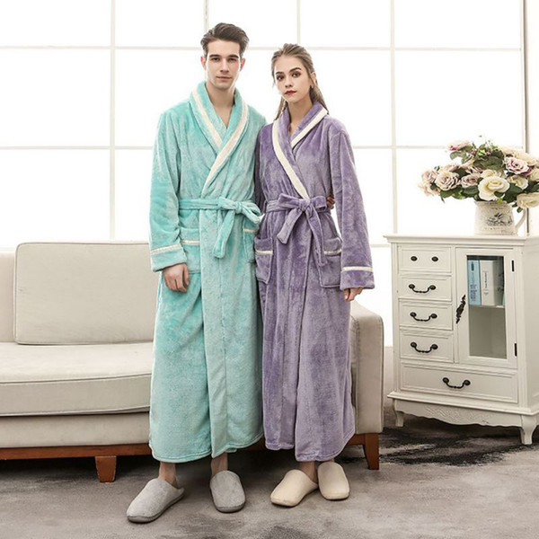 Flannel Bathrobe Woman Cloak Lover's Robe Peignoir Badjas Winter Girls Clothing Dressing Gowns For Woman Man Large Size 3XL