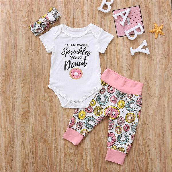 Infant Toddler Baby Girl Tops Romper+Leggings Donuts Outfits Set Clothes