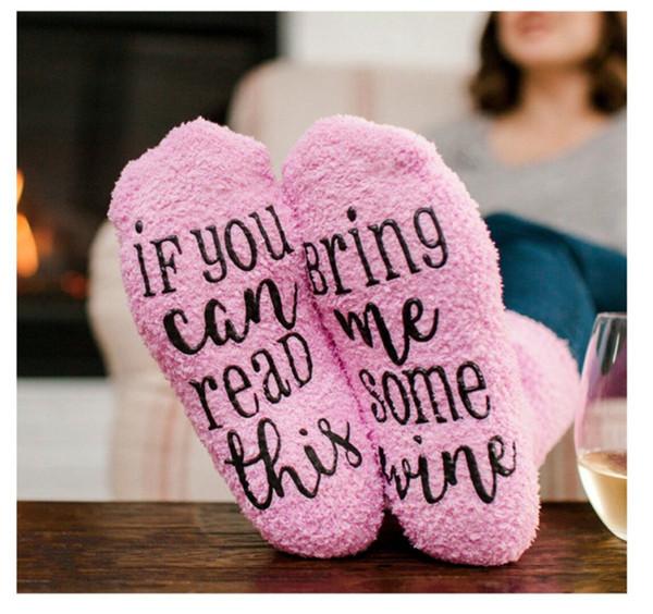 Зимние теплые носки, Если вы можете прочитать это, Принесите мне вино письмо рождественские носки розовые стопки петли чулки унисекс Смешные носки подарок 2018