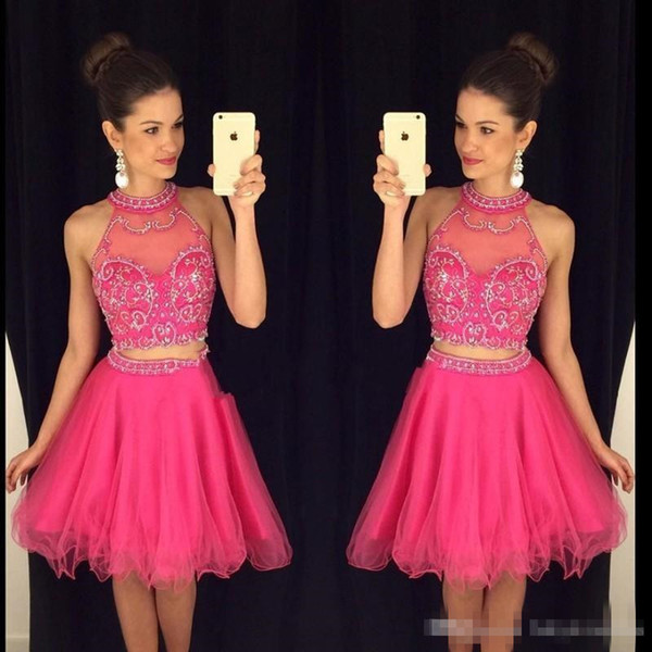 2019 New Sexy Two Pieces Homecoming Dresses High Neck Beaded Appliques Short Prom Dresses Cheap Backless Graduation Cocktail Party Dresses
