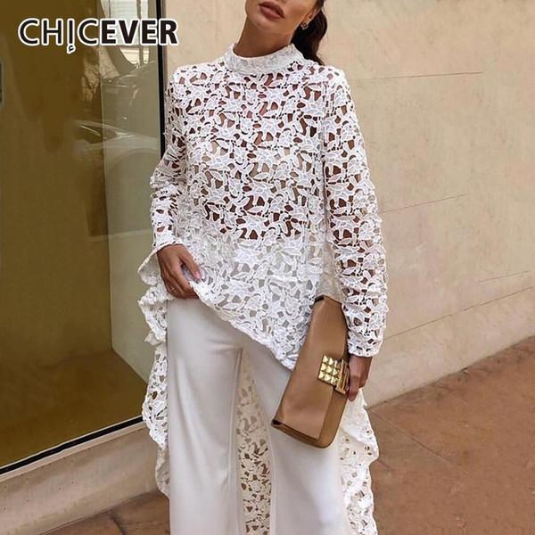 CHICEVER Dantel Hollow Out Bluzlar kadın Gömlek Tops Kadın Standı Yaka Uzun Kollu Asimetrik Hem Bluz Moda Giyim Yeni