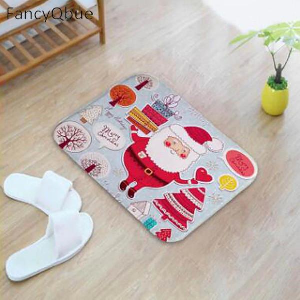 1pcs Merry Christmas Pattern Carpet 60*40cm Door Mats Rug Outdoor Kitchen Bathroom Living Room Floor Mat Rug