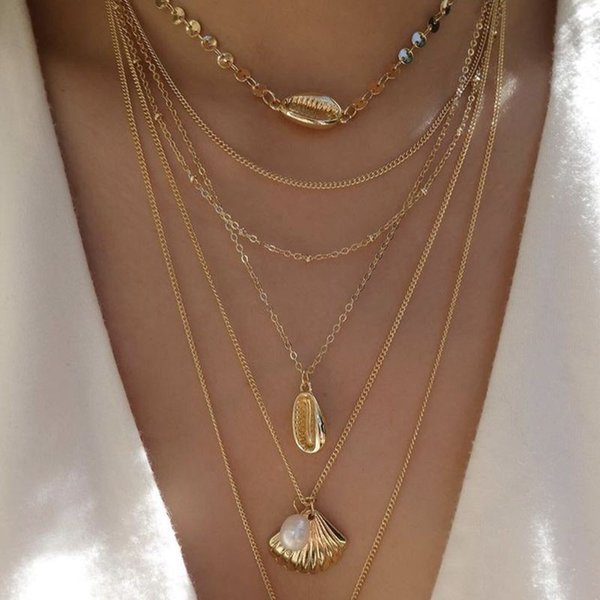 shell necklaceset shels and pears choker gold necklaces for women gold chain shell pearl chocker shells necklace cheap conch under 3 dolla