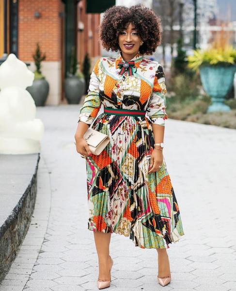 Saten baskı pileli zarif lady stil Afrika moda gömlek yaka bel gömlek yaka uzun etek kadın