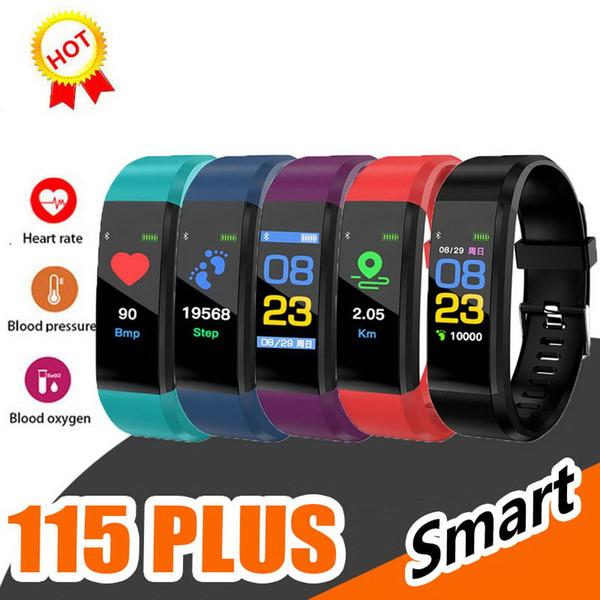 Écran LCD ID115 plus intelligent Bracelet Fitness Tracker Podomètre bande de montre moniteur de fréquence cardiaque pression artérielle intelligent Wristband PAR dhl