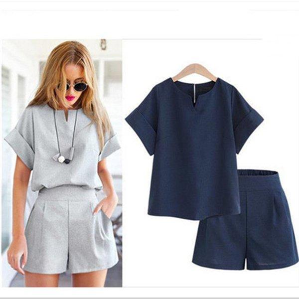 Deux pièces Ensembles d'été pour les femmes 2019 Vintage Fashion Casual Hauts coton manches + short Survêtement Sweat Costumes Femmes Costumes