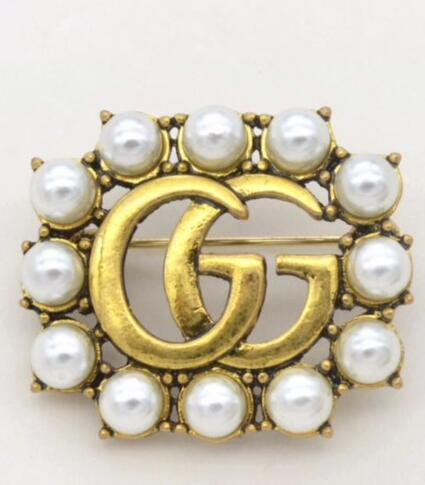 Vintage Cristal grand luxe Broche femmes Lettre G Designers Broche Costume épinglette Bijoux Accessoires de mode cadeau pour l'amour