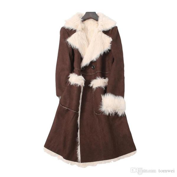 Women Fur jacket Brown Fur Coat Warm Overcoat Fashion Tops Auutmn Winter Jackets Windbreakers Outerwear Plus Size M L XL XXL