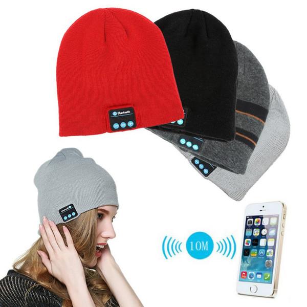 Hombres Mujeres Invierno Rojo Negro Suave Cálido Gorros Sombrero inalámbrico Bluetooth Smart Cap Auricular Auricular Altavoz Micrófono Bluetooth Sombrero
