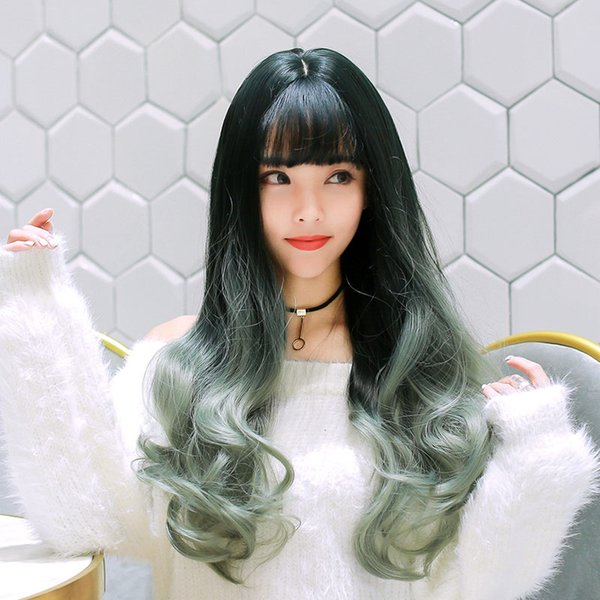 New popular African long curly hair gradient color wig synthetic wig, novel style, thin and breathable, comfortable to wear.TKWIG