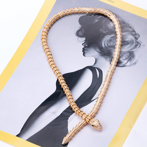 Designer Snake Chains Necklaces Fashion Animals Design Personality Necklace Luxury Gold Silver Rose Craze Snakes Necklaces Lover Gift