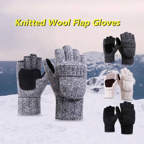 Flip Knitted Mittens Warm Wool Gloves Unisex Convertible Fingerless Mittens Cover Winter Warm Equipment Sports Gloves