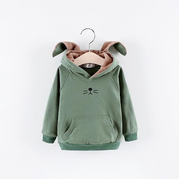 2019 New Spring and Autumn Children's Wear Boys and Girls Long Sleeve Cartoon Cute Rabbit Hat Hooded Sweatshirt Jacket Coat
