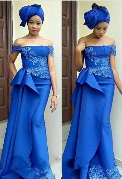 African Royal Blue Mermaid Bridesmaid Dresses Off Shoulder Lace Appliques Prom Wear Formal Draped Satin Bridal Guest Skirts Maxi Dress