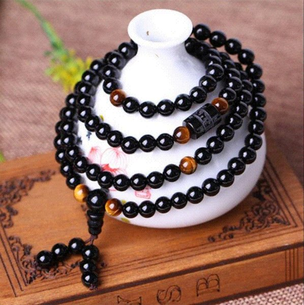 Black 108 Prayer Beads Tiger Eye Stone Bracelet Necklace Crystal Strand Mala Rosary Buddhist Buddha Lover Lucky Amulet Jewelry