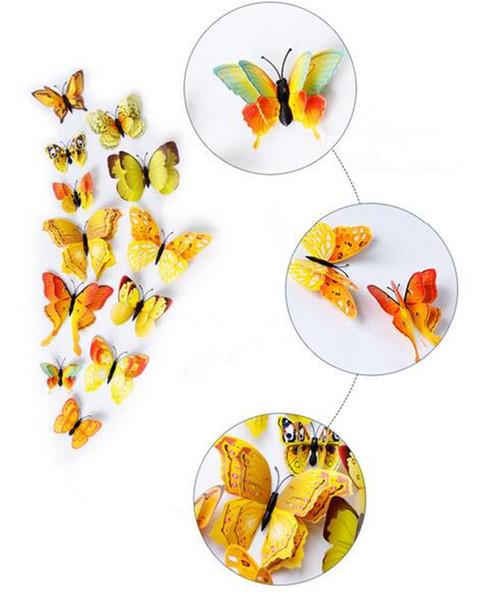 Hot Décor 12 Pcs 3D Double couche Papillon Sticker Mural sur le mur pour La Décoration Intérieure DIY Papillons Réfrigérateur Aimant Réfrigérateur stickers Décoration