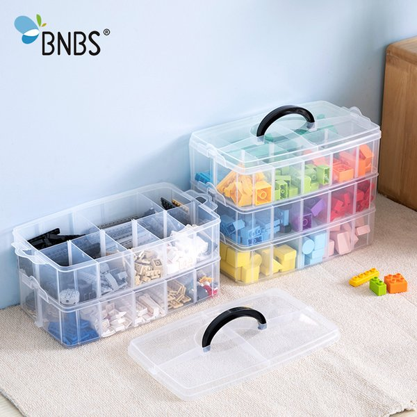 Bnbs Building Blocks Toy Plastic Box Transparent Jewelry Organizer Scrapbooking Storage 2/3 Layer Suitcase For Tools J190713