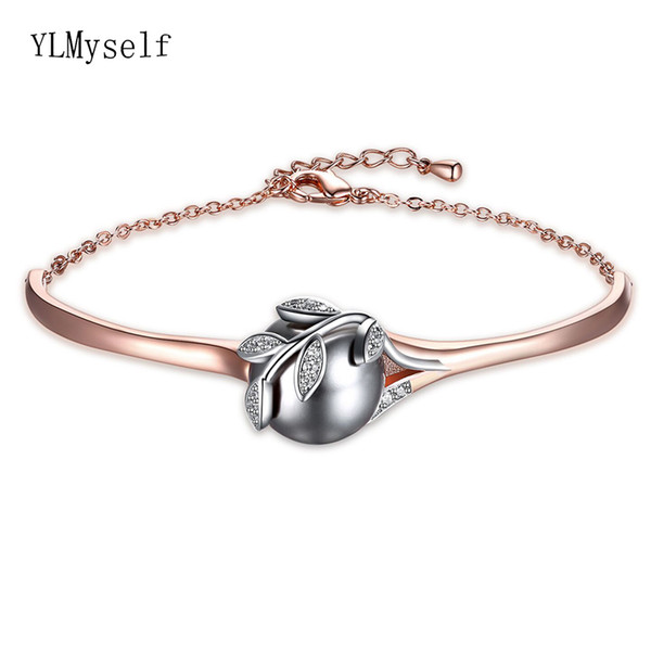 Dropshipping Rose Gold & Silver Plate Grey Pearl & Cz Crystal Wholesale Trendy Jewelry Lot Bracelet & Bangle For Mom MX190719