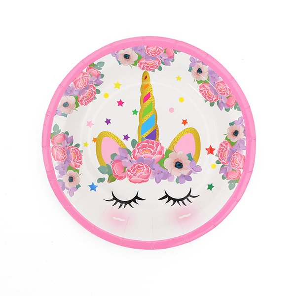 10pcs 7inch Pink Unicorn Disposable Paper Plate Cartoon Party For Kids Boy Girl Birthday Party supplies Printing Round Plate