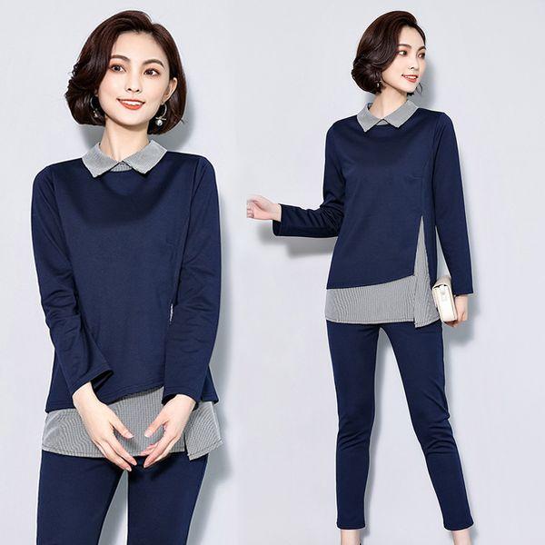 2 piece set women clothes plus size large big 3xl 4xl 5xl co-ord set outfit crop top and pants suits autumn winter long 2pcs