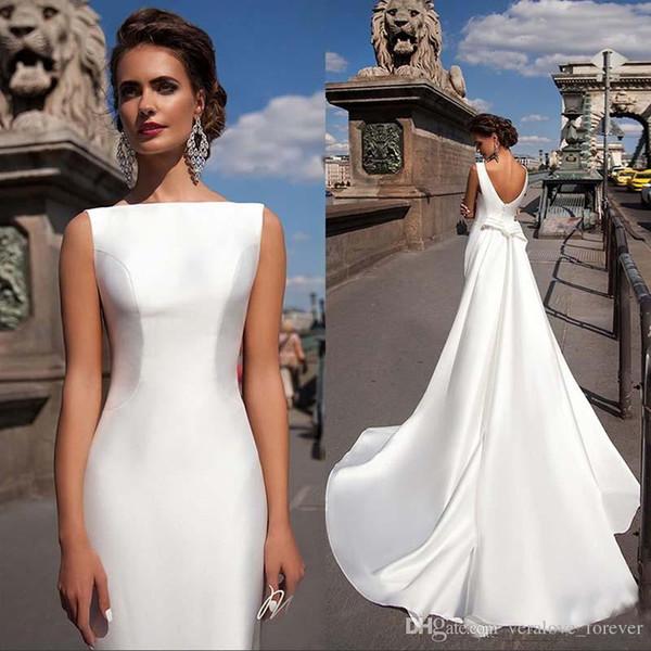 Elegant Bateau Neck Satin Mermaid Wedding Dresses Sleeveless Fitted Detachable Train Long Bridal Gowns Plus Size Bride Gowns