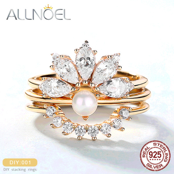 ALLNOEL 2019 Горячие Твердые 925 серебряные кольца Sterling для женщин Stacking Люкс Циркон Алмаз Real Pearl Ring Wedding Fine Jewelry