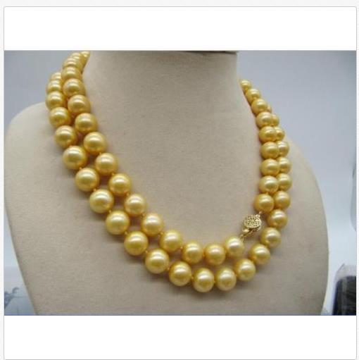 BEAUTIFUL AAA 11-12mm natural south seas round gold pearl necklace 35 inch 14k a