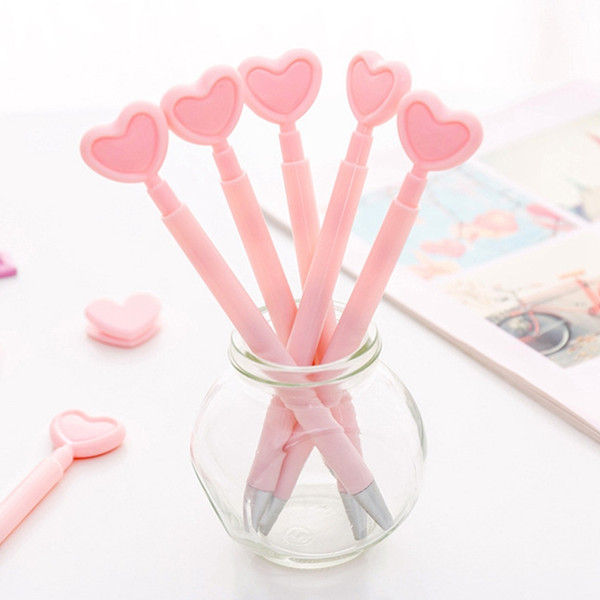Kawaii Pink Colour 0.5mm Black Ink Press Gel Ink Pen Cute Sweet Heart Shaped Writing Pens Student Office Supply Kids Girl Gift