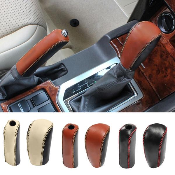For Land Cruiser Prado Fj150 2010-2017 DIY PU leather Gear Knob &Handbrake Cover trim Car Styling Accessories 2pcs