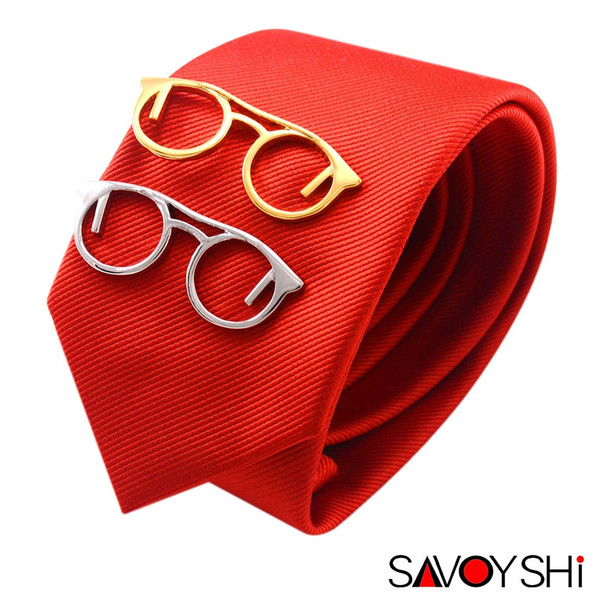 SAVOYSHI Trendy Glasses Design Tie Clips for Men High Quality Necktie Tie Bar Clasp Clip Fashion Brand Men Jewelry Gift