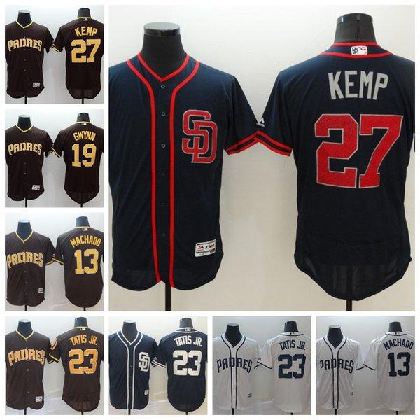 2019 Nuevas camisetas de los Padres de San Diego para hombre Manny Machado 19 Tony Gwynn 27 Matt Kemp 13 Manny Machado Baseball Jersey