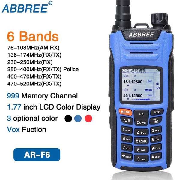 top popular ABBREE AR-F6 Walkie Talkie six 6 Bands police band LCD Color Display Dual Display Dual Standby 999CH VOX DTMF SOS Ham Radio 2021