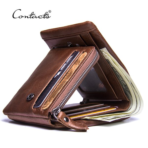 Contact's Genuine Crazy Horse Leather Men Wallets Vintage Trifold Wallet Zip Coin Pocket Purse Cowhide Leather Wallet For Mens Y19052801