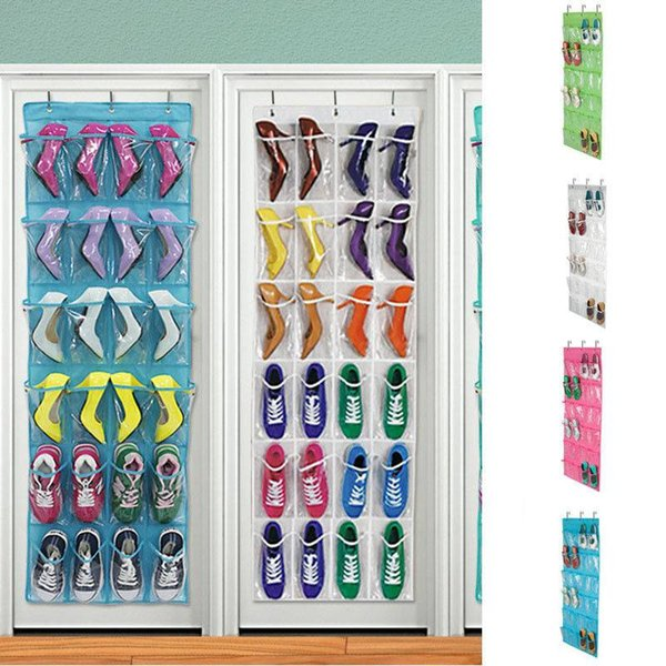 Hanging Shoe Organizer Non-woven 24 Pocket Shoes Storage Rack Behind Door Bedroom Tie Waistband Holder Space Saver with 3pcs hooks