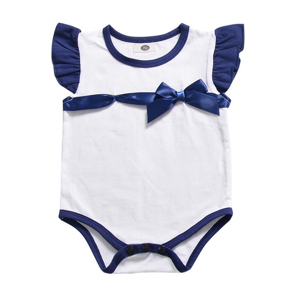 INS Must-have Baby Girls Rompers Fly Sleeve Black Red White Blue Bow One Piece Bodysuits Newborn Boys Jumpsuits Infant Toddler