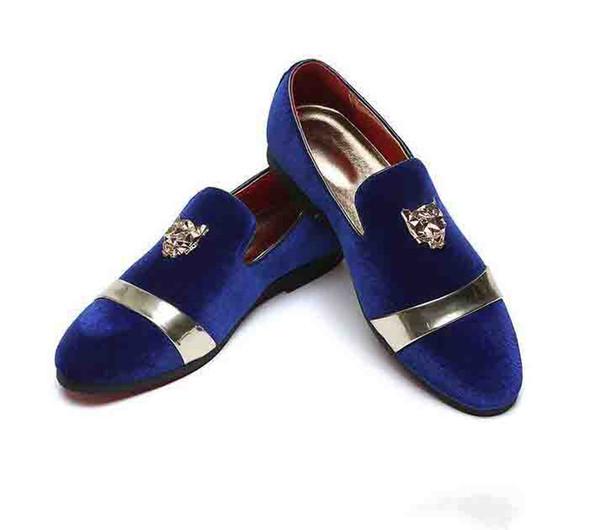 2019 À la mode Britannique Designer Men a fait le velours BLUE Rouge Robe de soirée de retour à la maison oxford chaussures de mariage appartements mocassins hommes