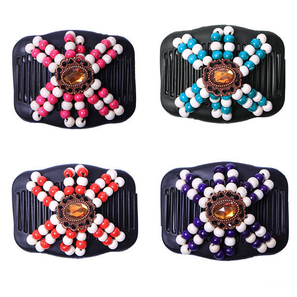 Crystal Retro Double Beaded Hair Magic Comb Clip Beads Elasticity Hairpin Stretchy Hair Combs Pins for Women Accessories