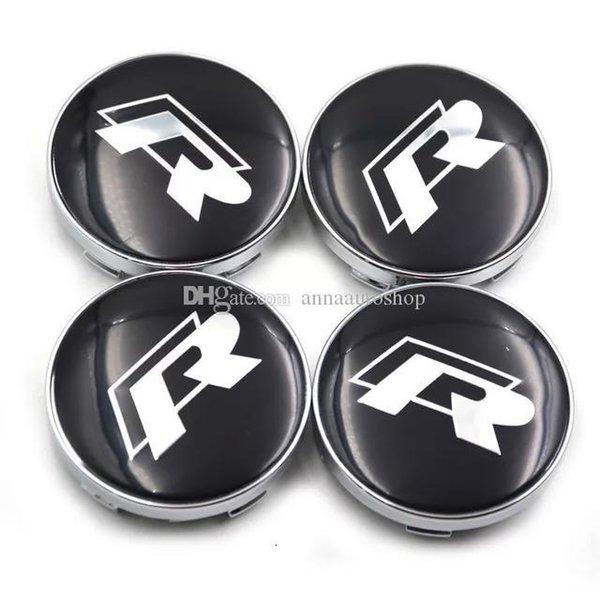 4pcs / set insigne de voiture emblème de moyeu de roue Caps Centre Caches Caps R Racing Centre en couleur noir pour VW