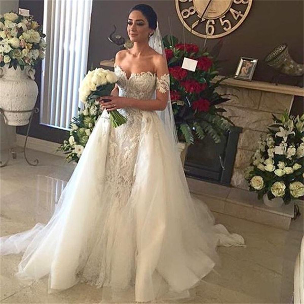 Elegant Off the Shoulder Mermaid Wedding Dresses Short Sleeves Lace Applique Tulle Overskirt Train Custom Made Chapel Wedding Gown