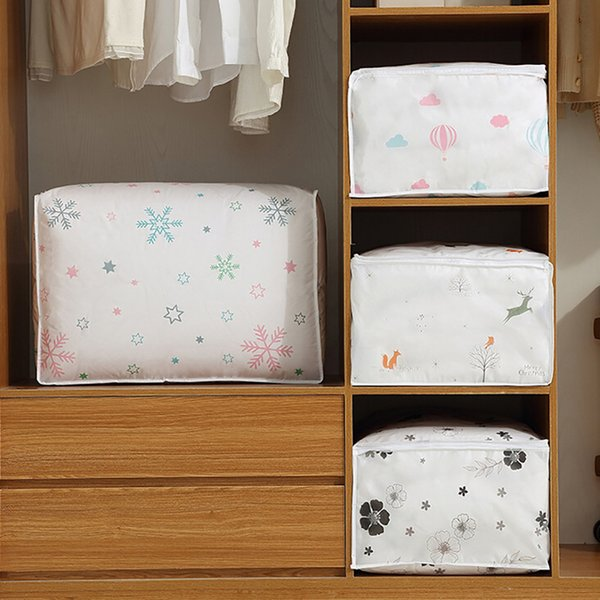 Foldable bedroom printing waterproof dustproof storage bag clothes blanket quilt wardrobe sweater organizer box pouch #LC