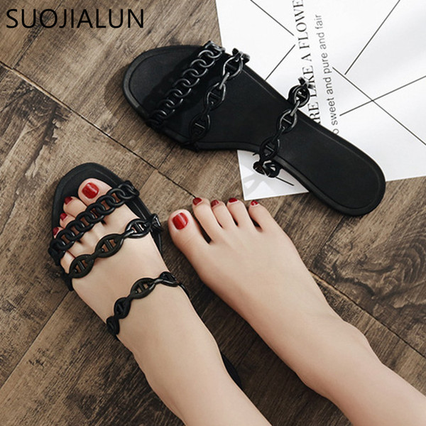1f06db8dd SUOJIALUN 2019 New Fashion Chain Slippers Sandals Open Toe Beach Flip Flops  Women Summer Slippers Outside Date Flat Slides