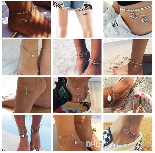 Fashion Crystal Anklet Set Vintage Handmade Ankle Bracelet for Women Party Summer Beach Accessories 20 styles ALXY